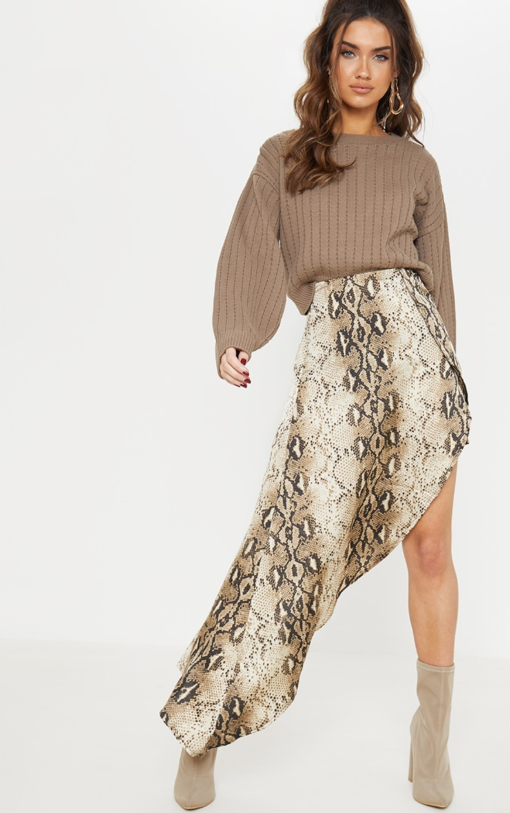 Taupe Ribbed Balloon Sleeve Cropped Sweater  4