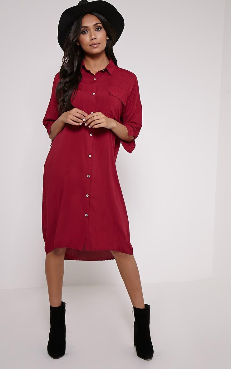 Perrin Berry Longline Shirt Dress 1