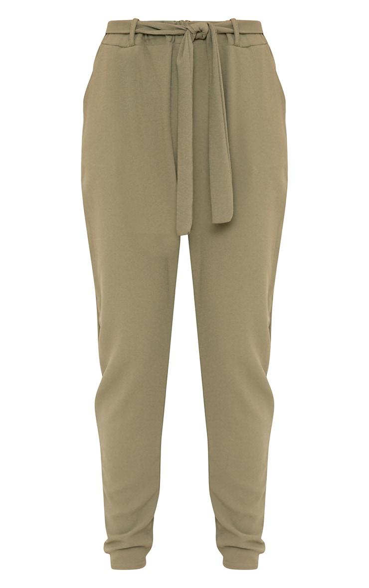 Sachia Khaki Tie Waist Peg Trousers  3
