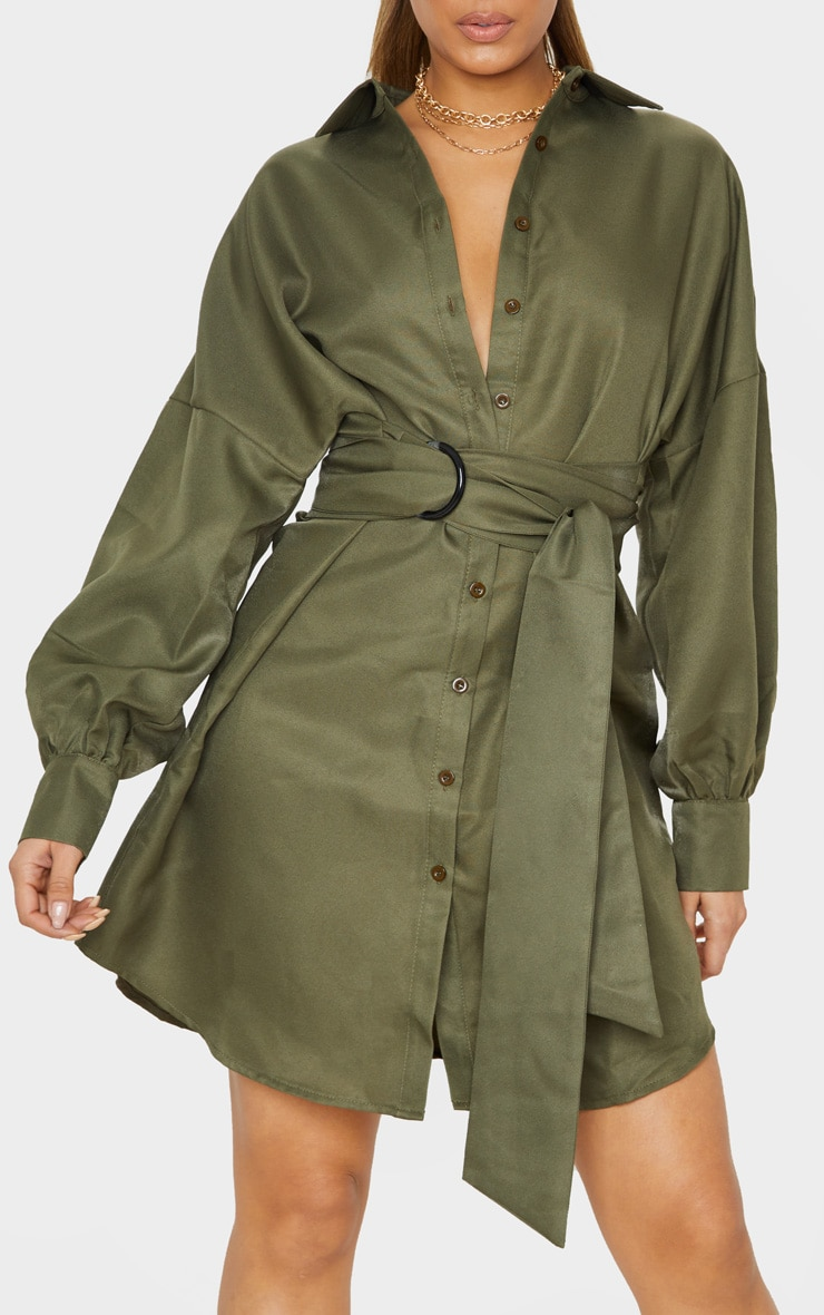 Tall Khaki Belted Tie Shirt Dress 5