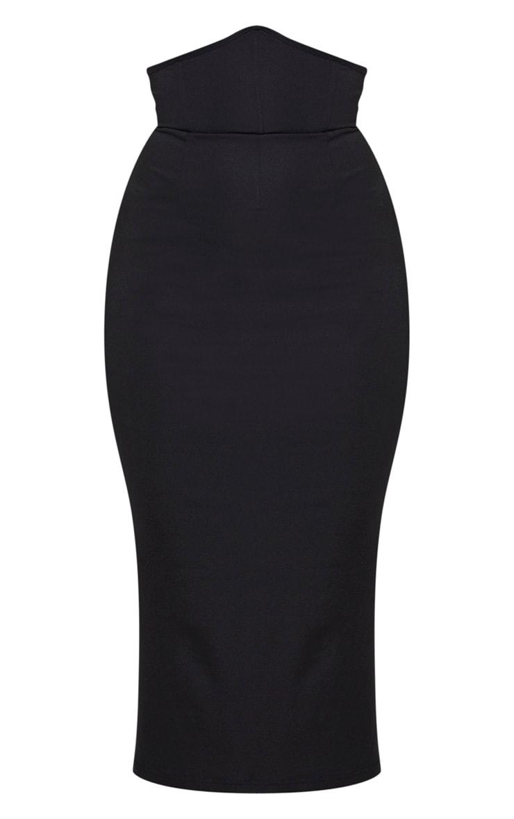 Jupe mi-longue taille haute structurée en néoprène noir 5