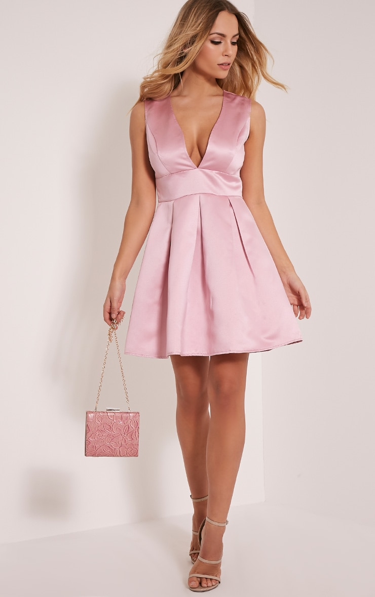 Vienna Blush Plunge Satin Skater Dress image 1 60aca88df