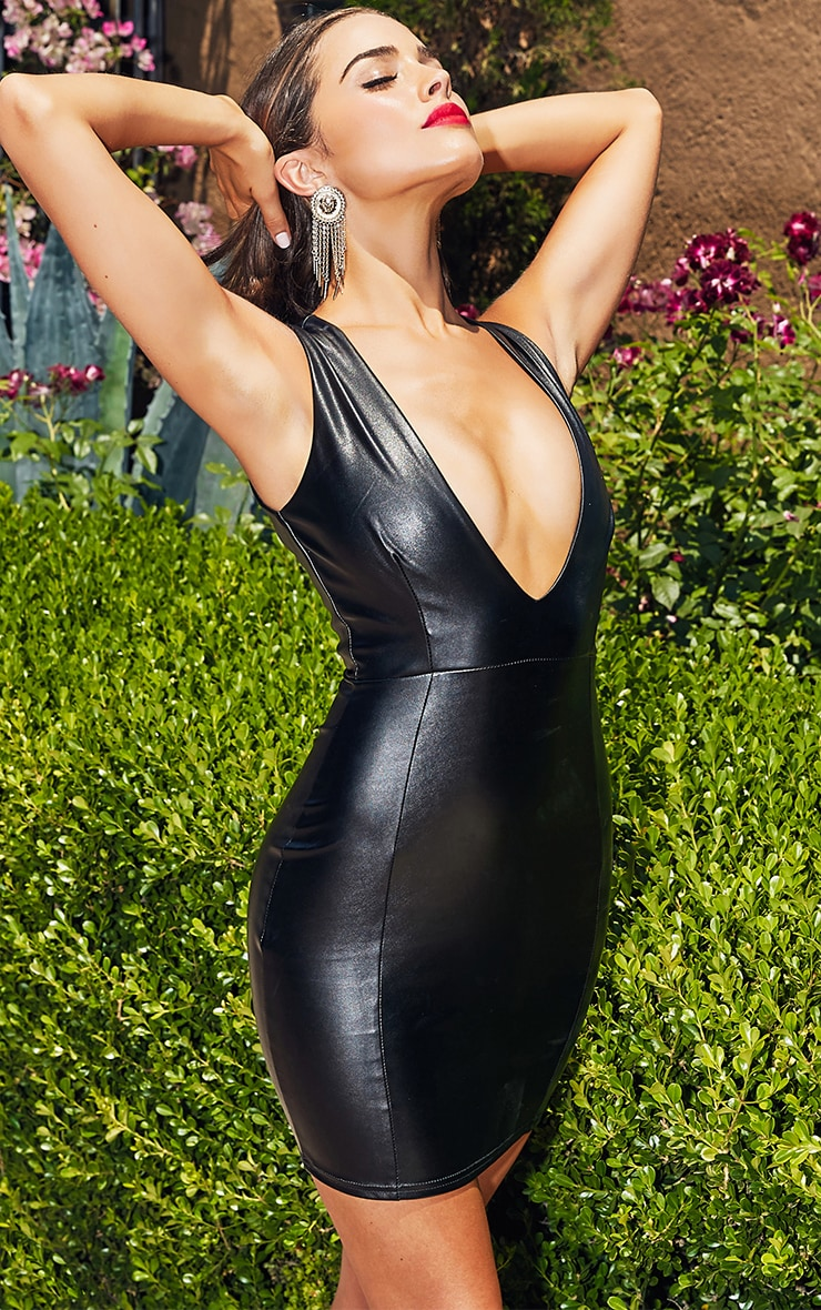 Black PU Plunge Bodycon Dress 2