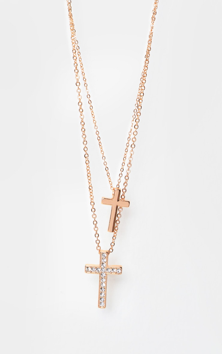 Gold Double Cross Layering Necklace 3