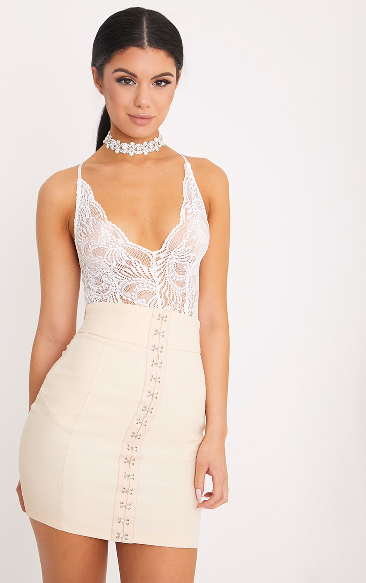 Lucille White Sheer Lace Cross Back Bodysuit
