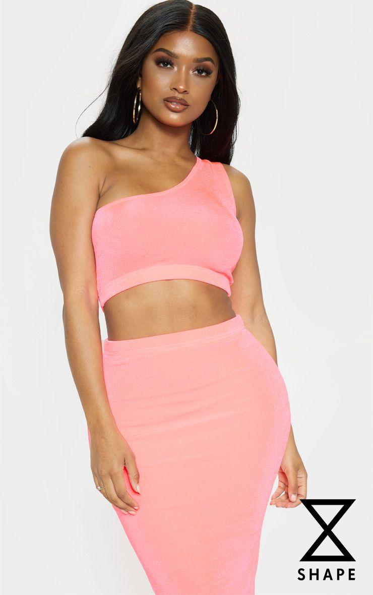 Shape Neon Pink Slinky Asymmetric Crop Top 1