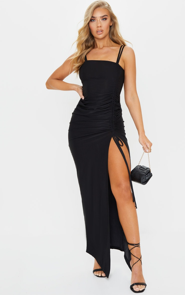Black Slinky Strappy Side Ruched Maxi Dress 1