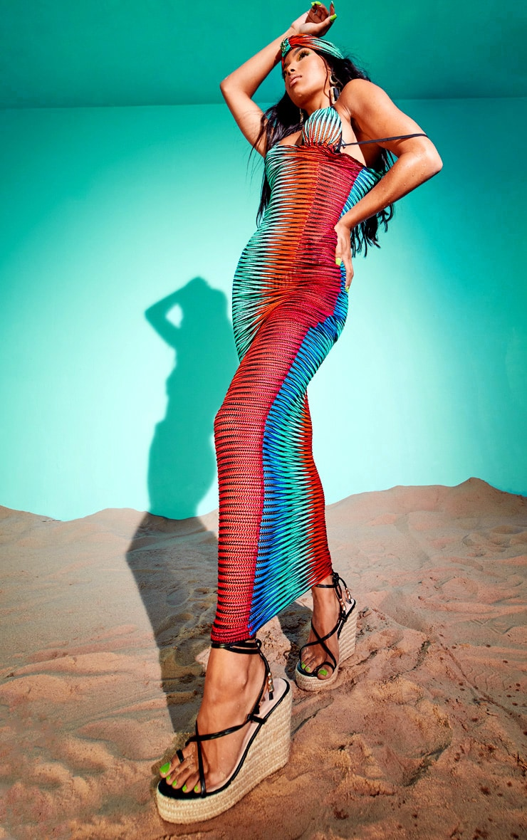 Multi Laser Cut Striped Maxi Beach Dress