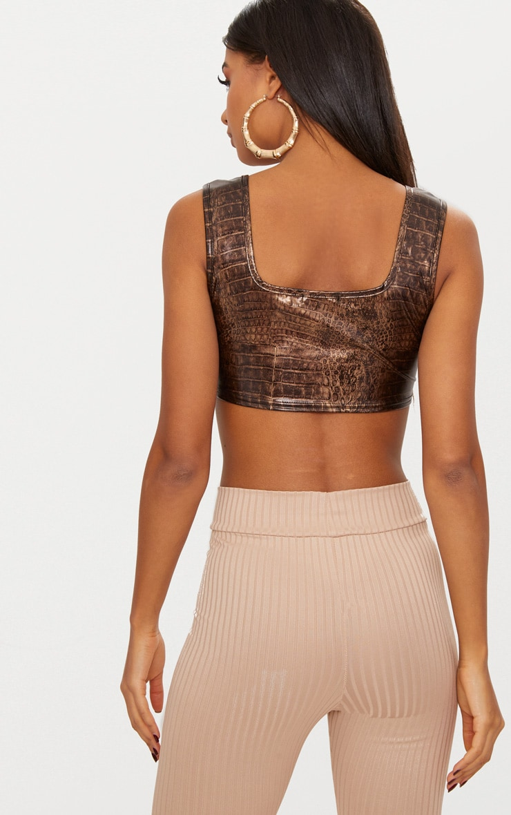 Brown Snake PU Square Neck Crop Top 2