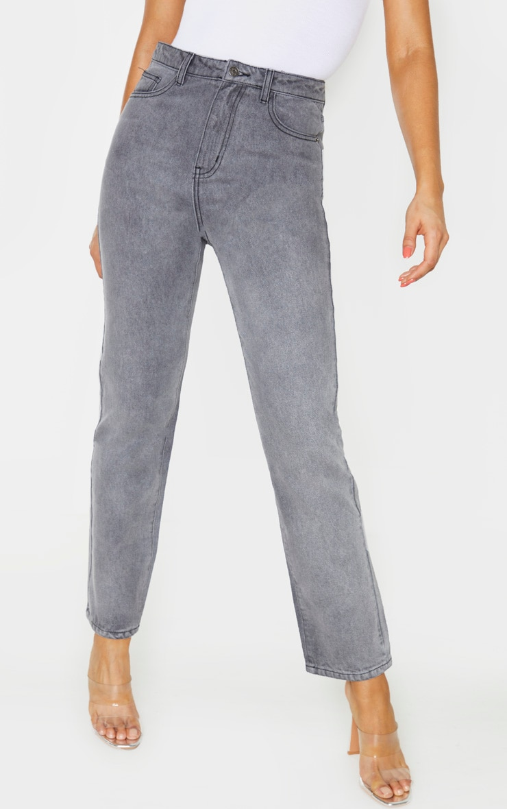 PRETTYLITTLETHING Tall  Grey Straight Leg Jeans 2