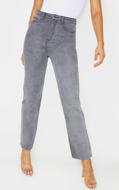 PRETTYLITTLETHING Tall Grey Straight Leg Jeans