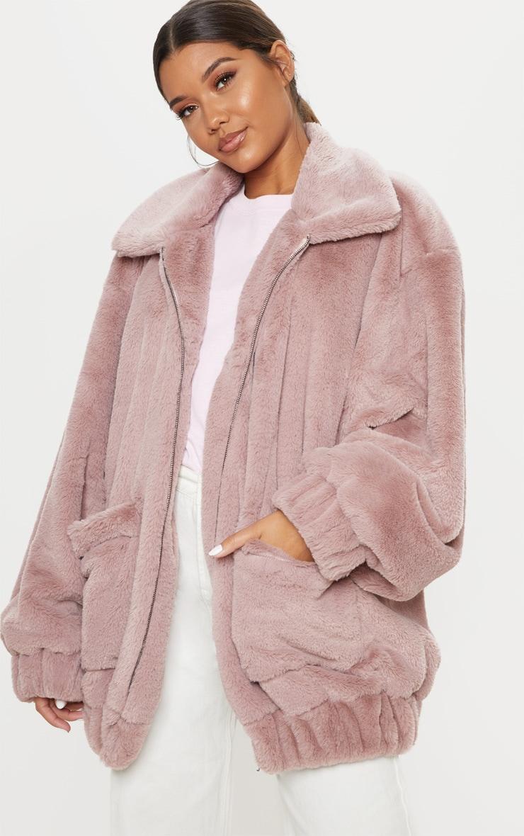 Rose Pocket Front Faux Fur Coat 1