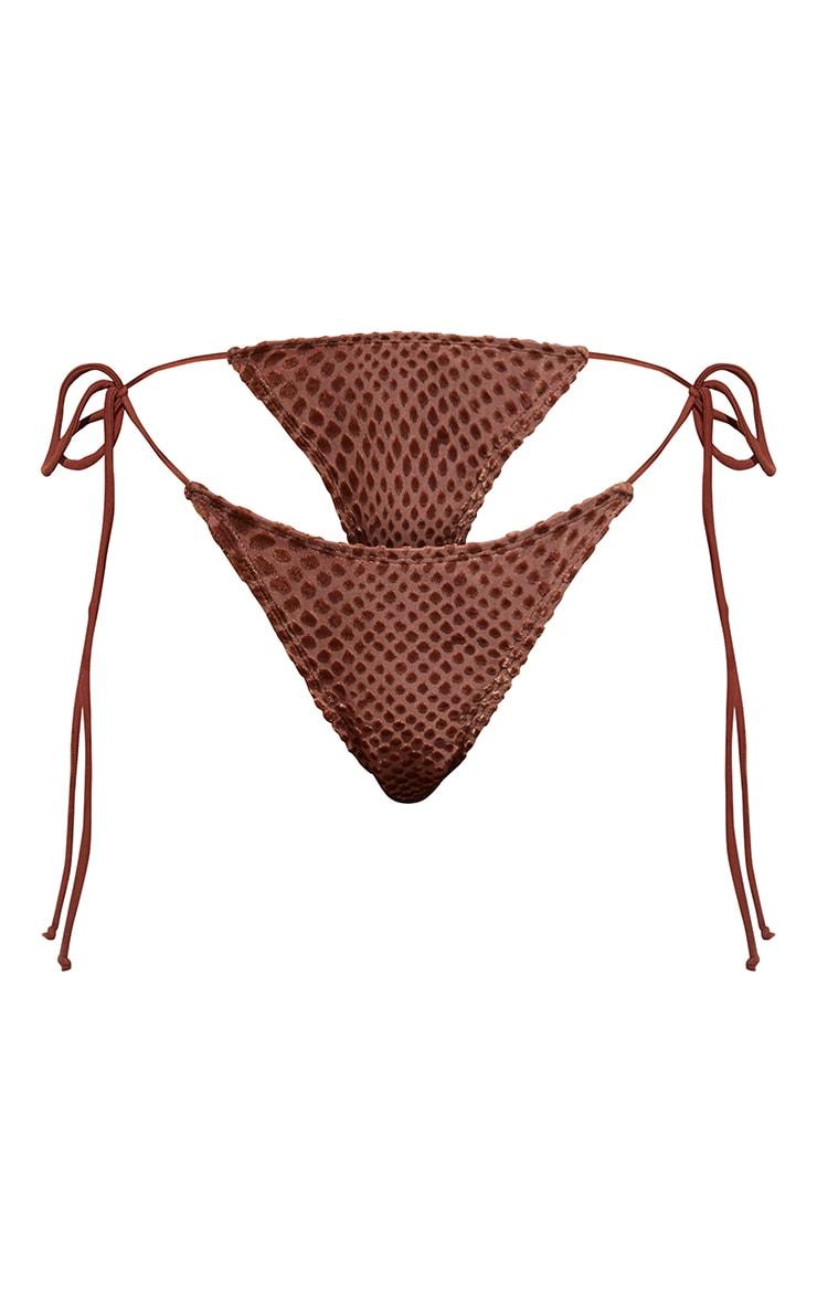 Brown Devore Tie Side Bikini Bottoms 5