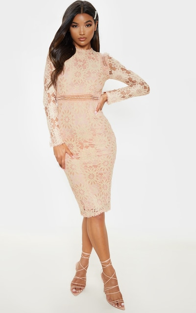 24cba2eabb2 Dusty Pink Long Sleeve Lace Bodycon Dress