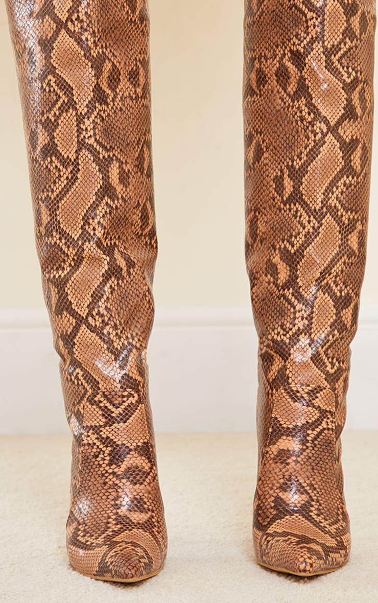 Snake Matte Pu Calf Stiletto Heeled Boots 4