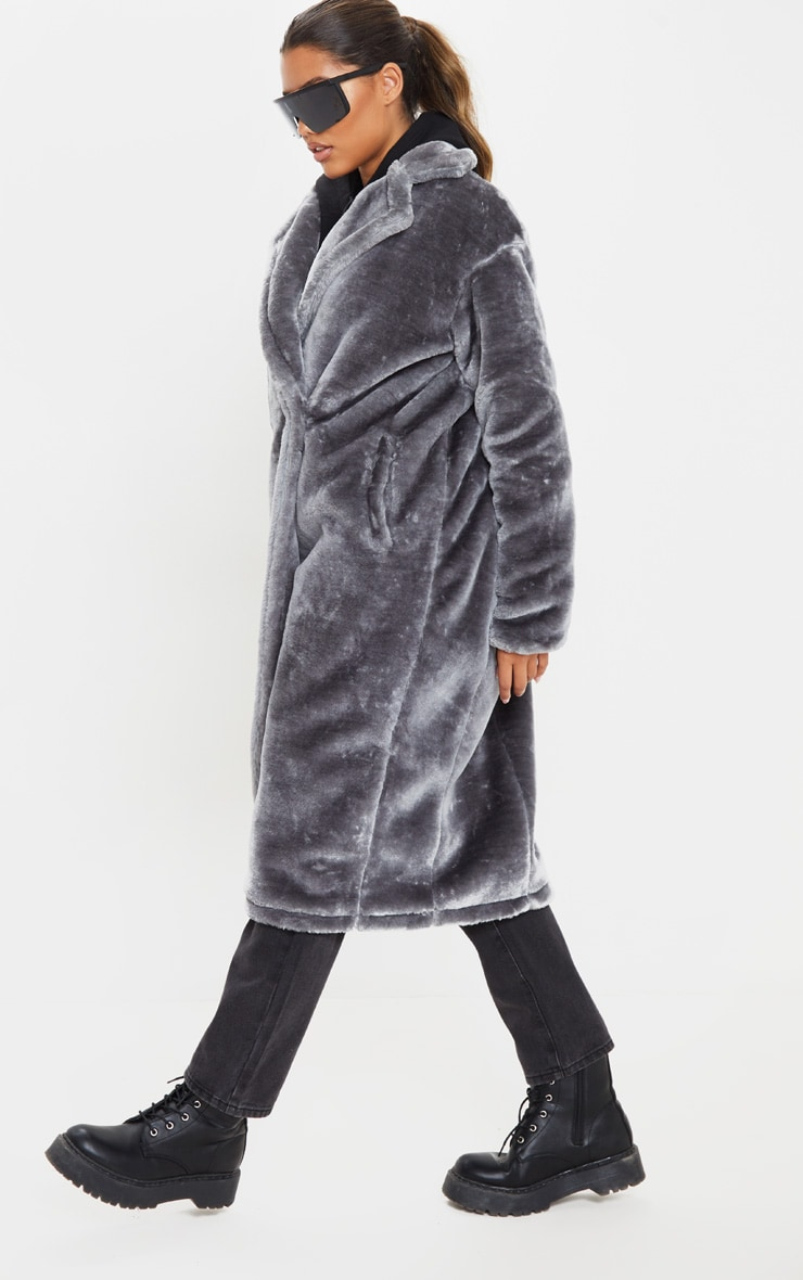 Grey Faux Fur Midi Coat  4