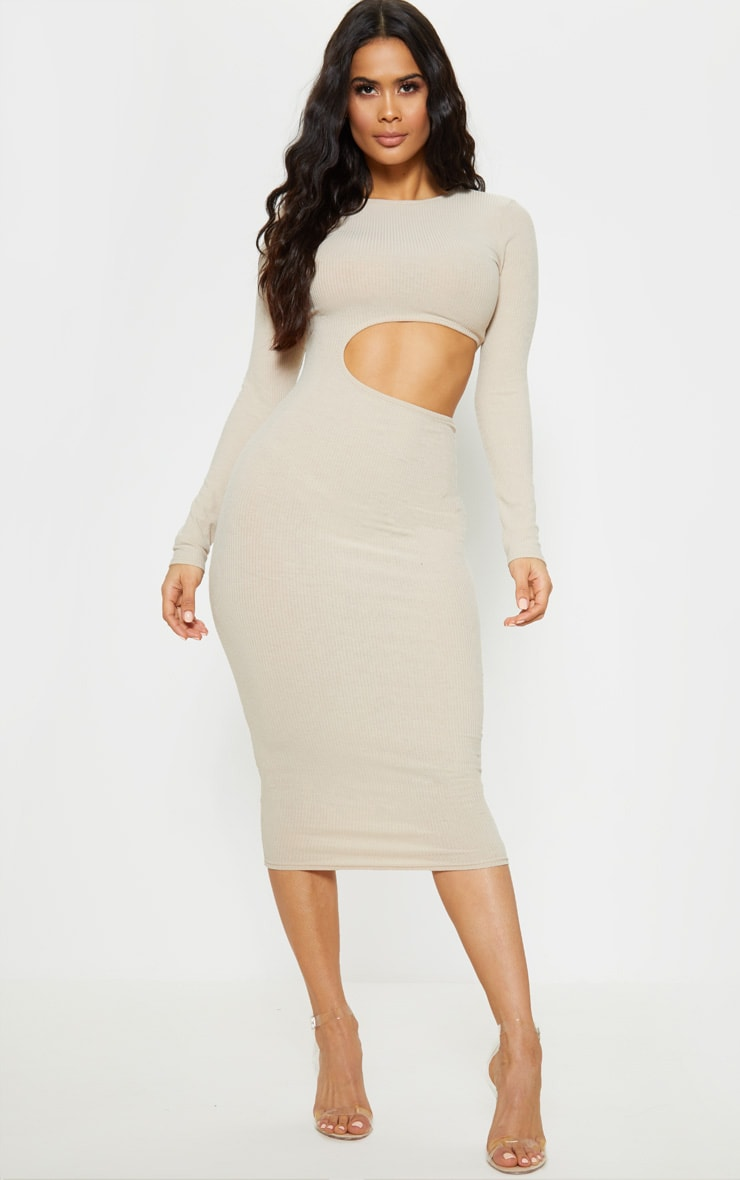 dcb744d2fbe Stone Ribbed Cut Out Long Sleeve Midi Dress image 1