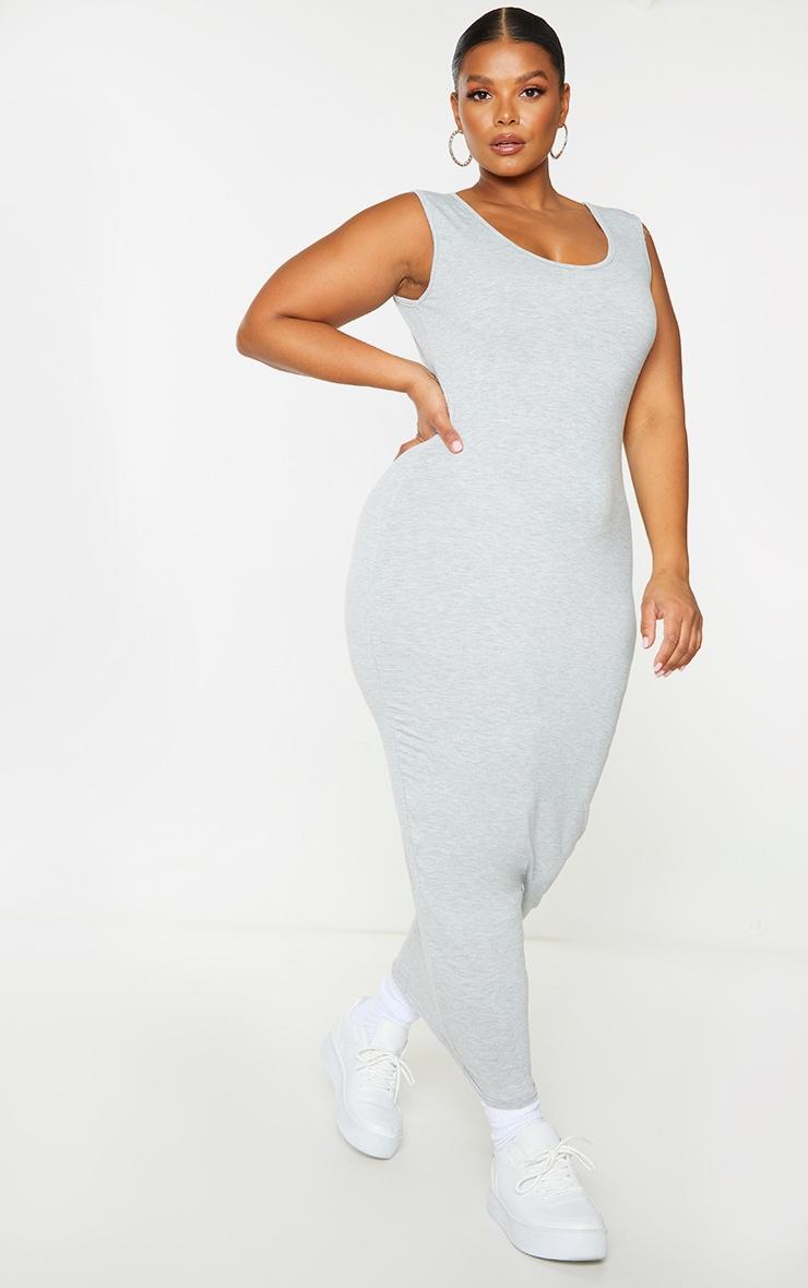 Basic Plus Grey Marl Cotton Blend Jersey Scoop Neck Midaxi Dress 3