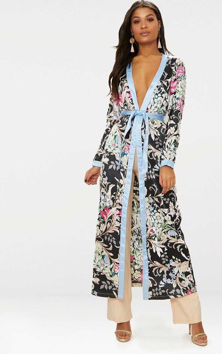 Black Silky Floral Duster Jacket 1