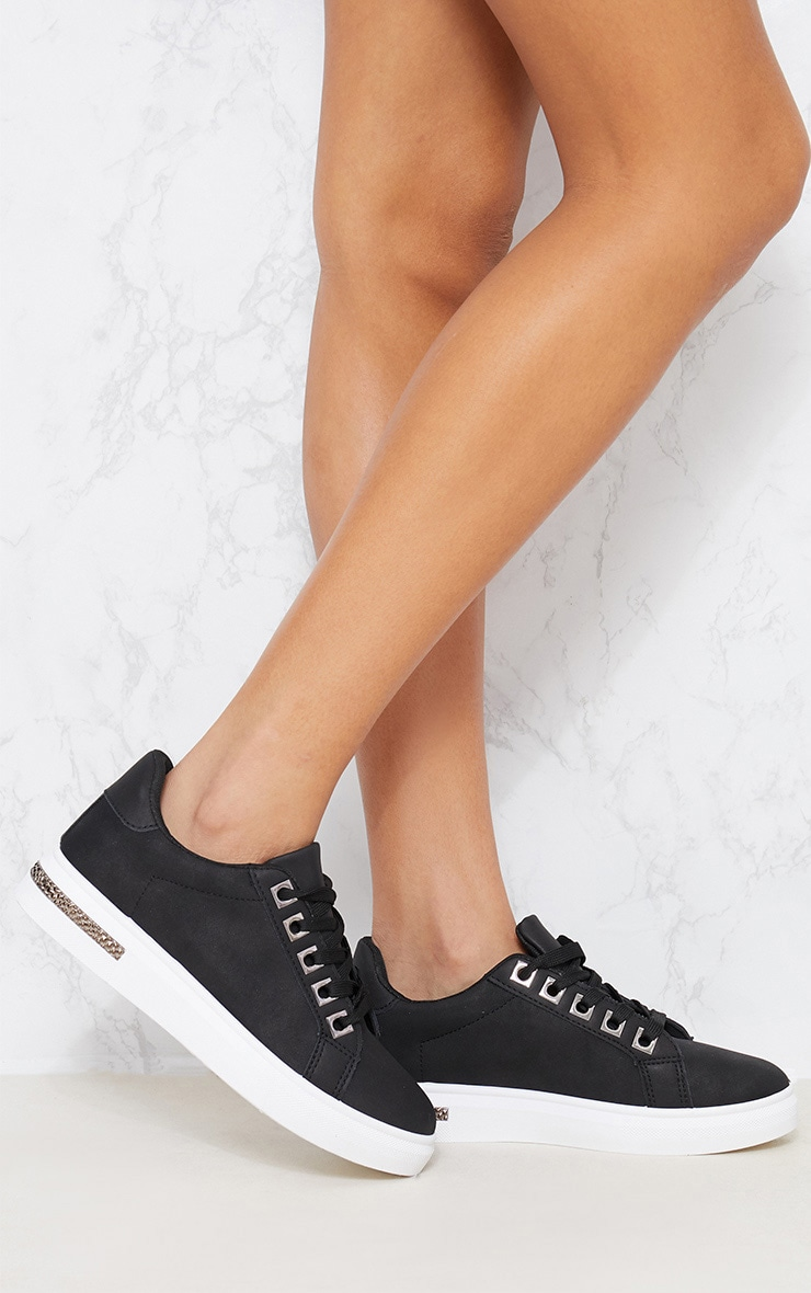 Black Diamante Detail Lace Up Trainer