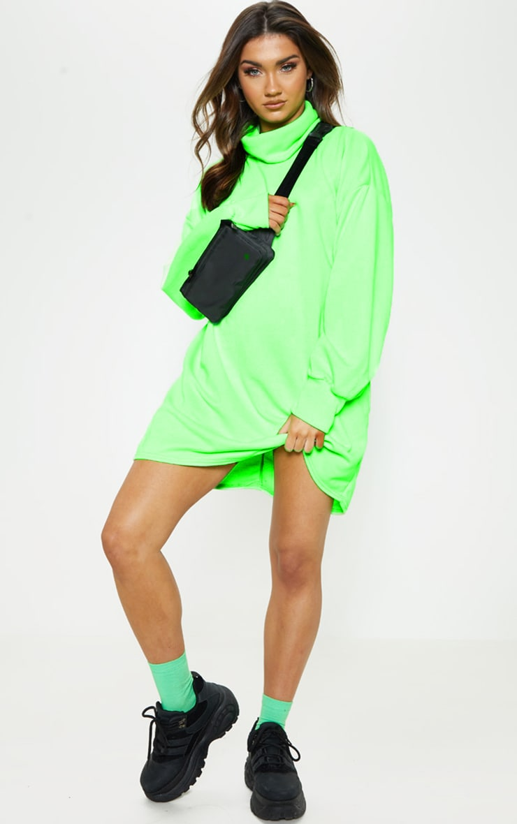 Lime Neon Oversized Sweat Roll Neck Jumper Dress 1