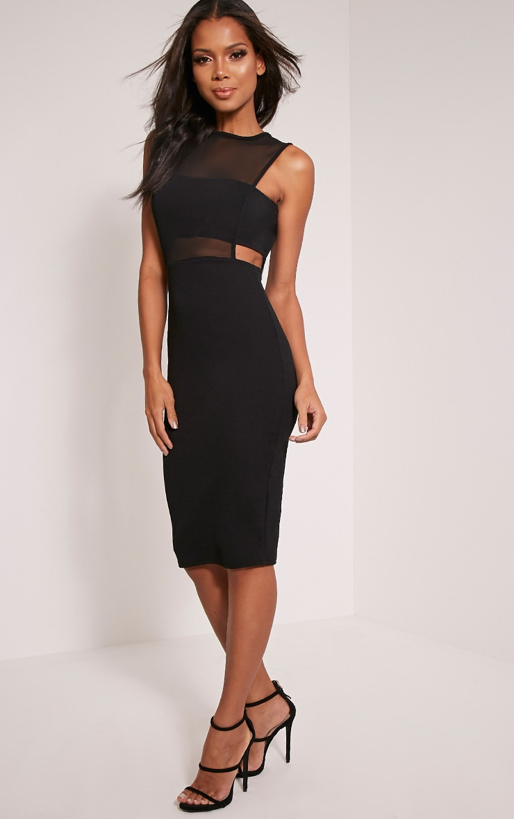 Lanelle Black Mesh Detail Midi Dress 1