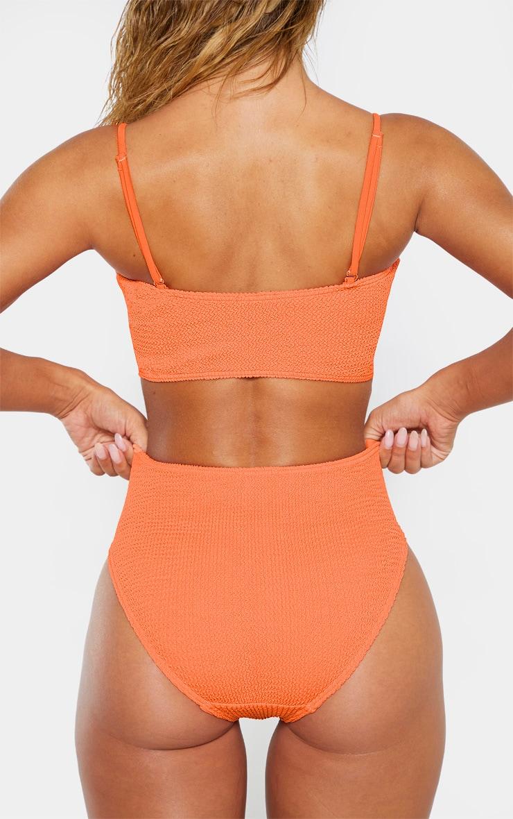 Coral Crinkle High Waist Bikini Bottom 2