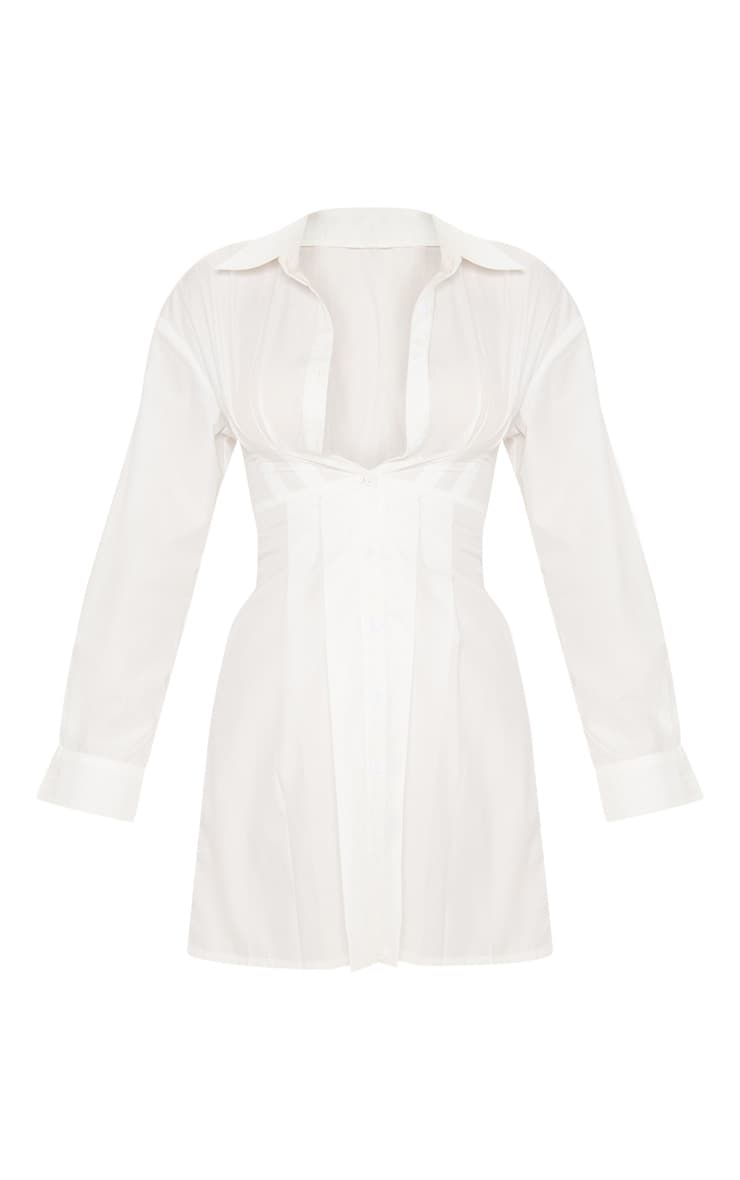 White Pleated Waist Detail Shirt Dress 3