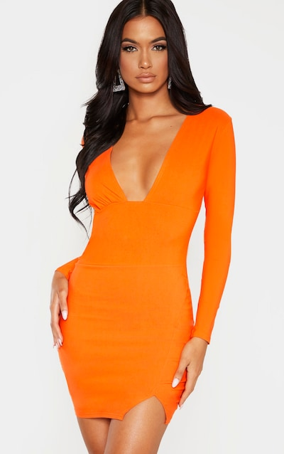 Coral Woven Long Sleeve Deep Plunge Bodycon Dress