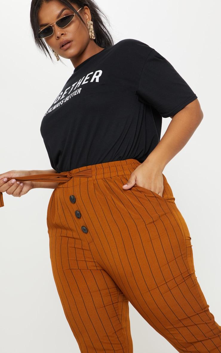 Plus Brown Pinstripe Button Detail Casual Trouser 5