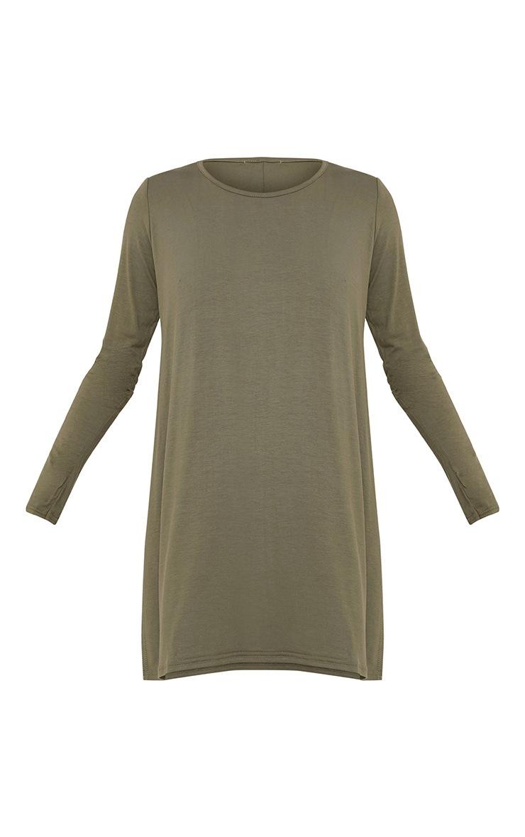 Khaki Long Sleeve Side Split Top 3