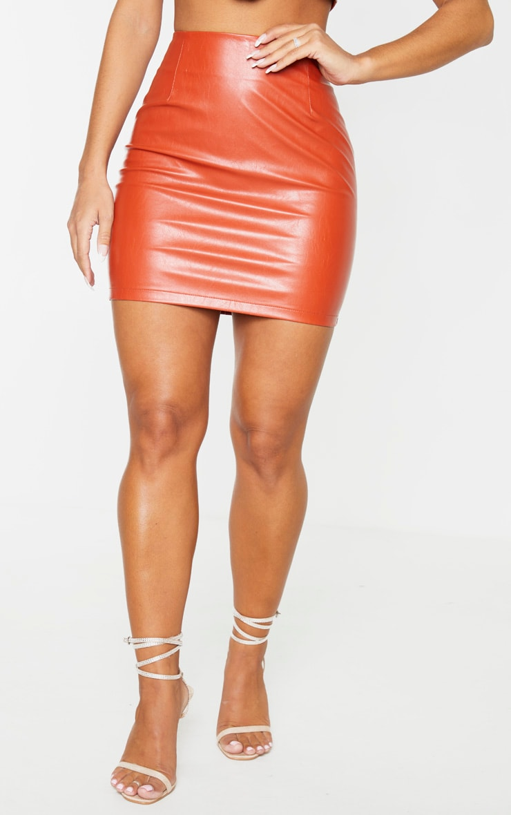 Burnt Orange PU Mini Skirt 2