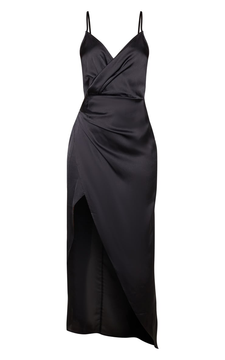 Petite Black Satin Wrap Detail Maxi Dress 3