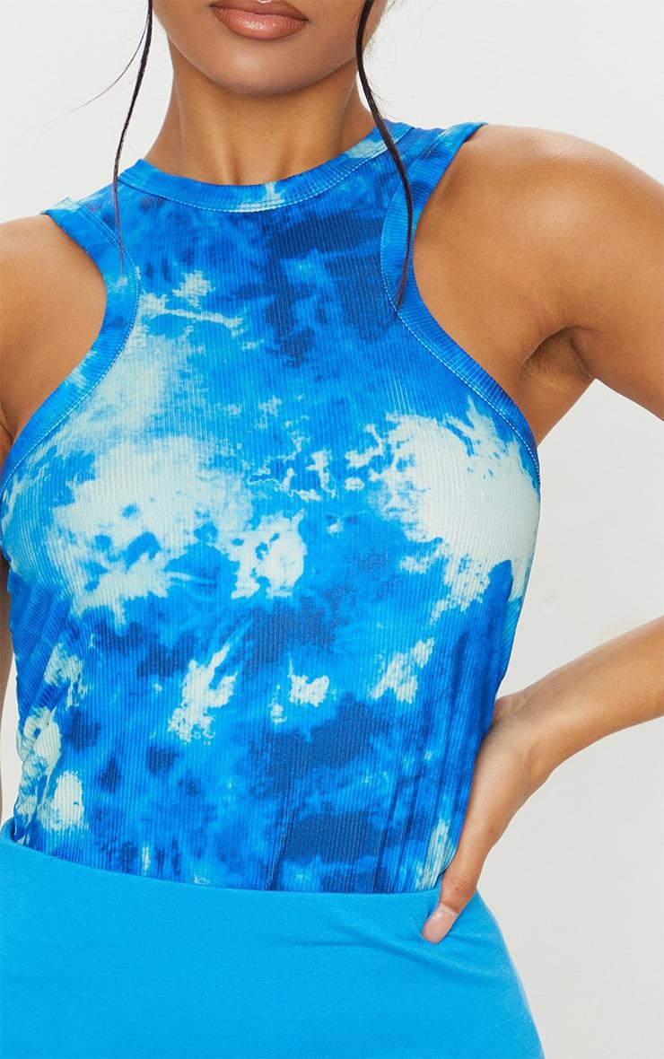 Blue Acid Wash Printed Racer Neck Vest 4