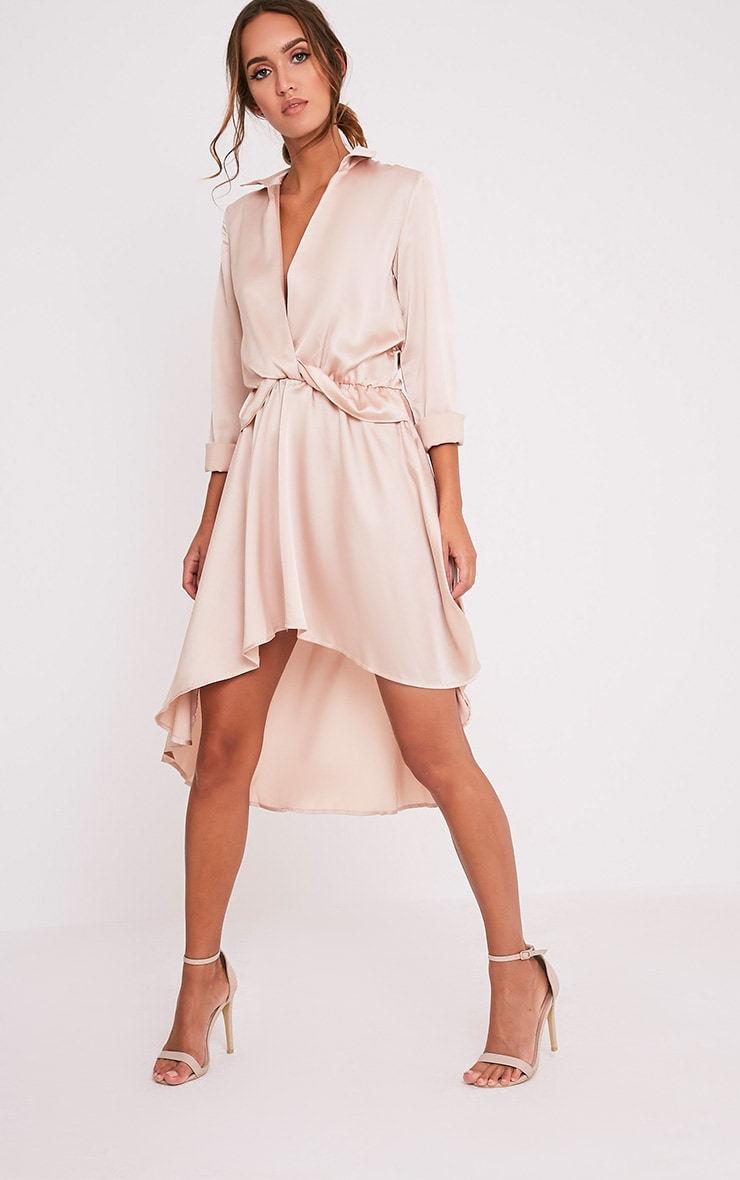 Gabbie Champagne Silky Wrap Over Midi Dress 1