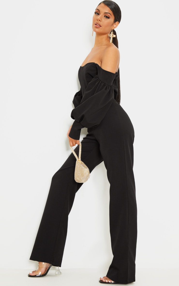 Black Bardot Balloon Sleeve Corset Jumpsuit 4