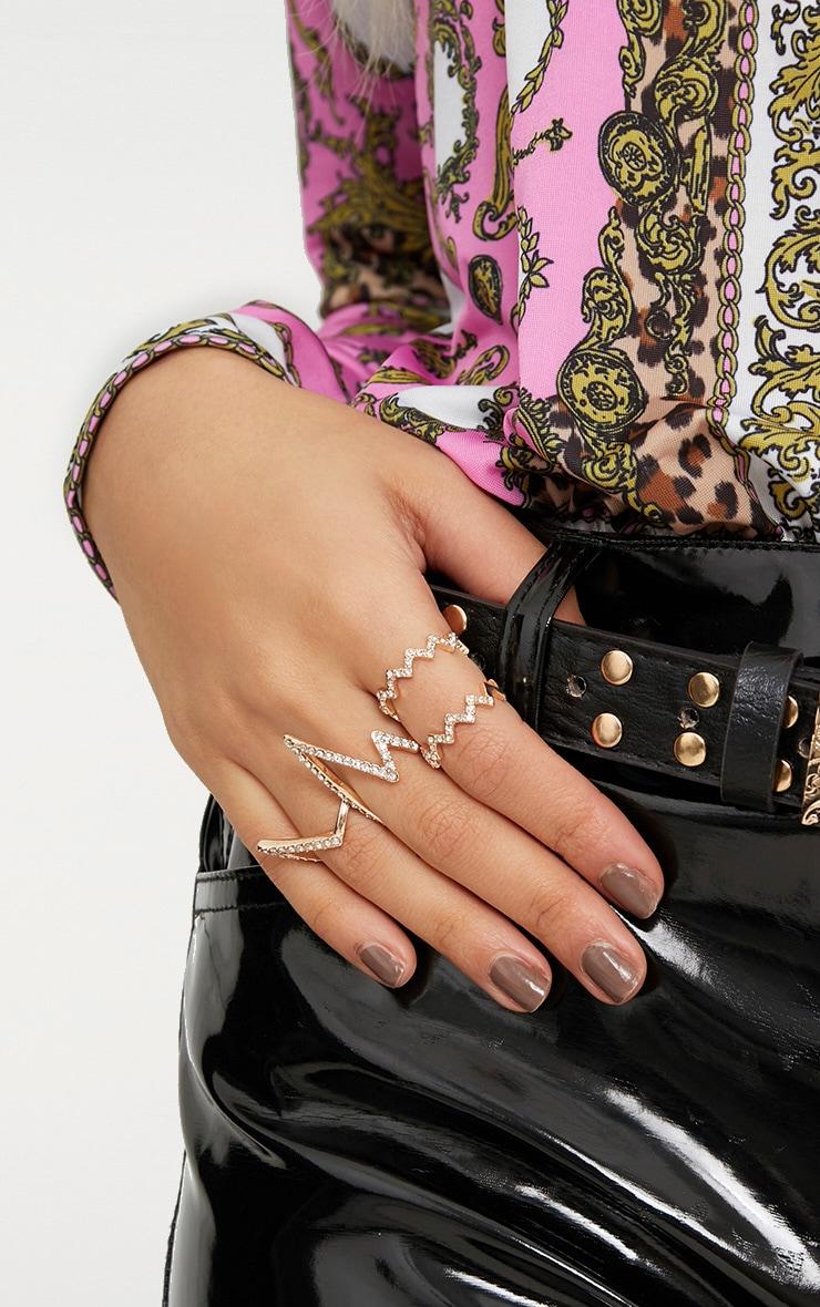 Gold Zig Zag Diamante Ring Pack 2