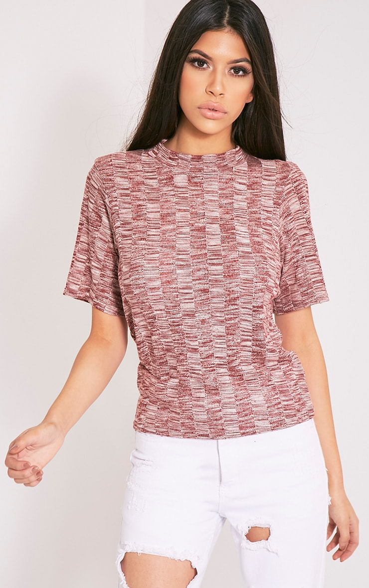 Laylae Red Fine Knit Short Sleeve Top 2