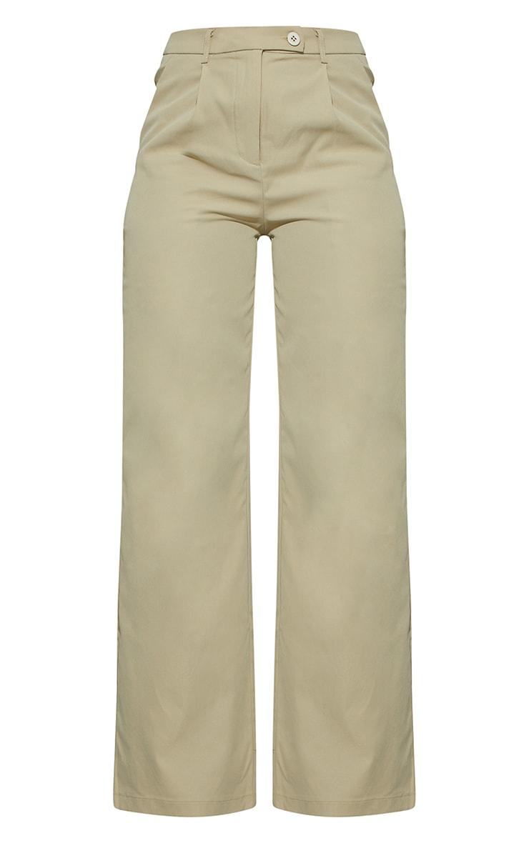 Stone Peach Skin Wide Leg Trousers 7