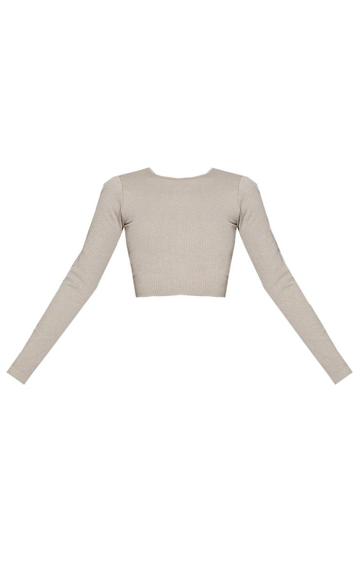 Taupe Marl Ribbed Seamless Long Sleeve Gym Top 5