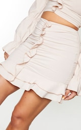 Nude Woven Stretch Frill Ruched Front Mini Skirt 4