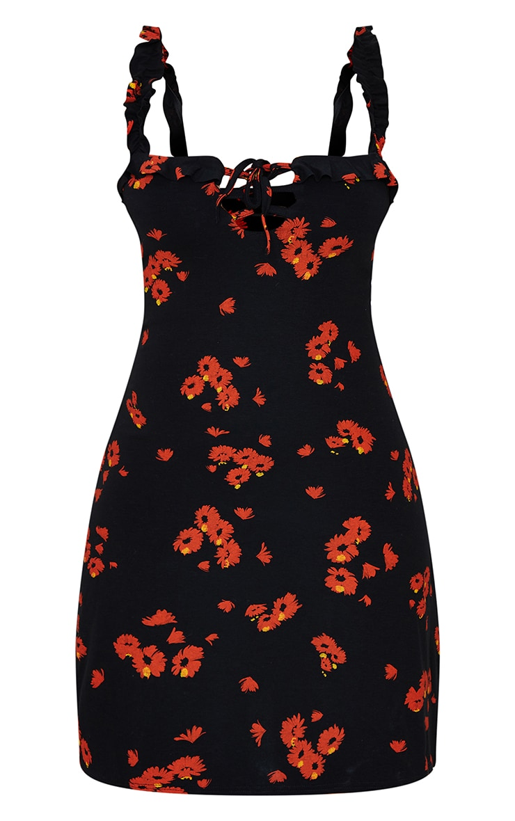 Black Daisy Print Frill Detail Shift Dress 5