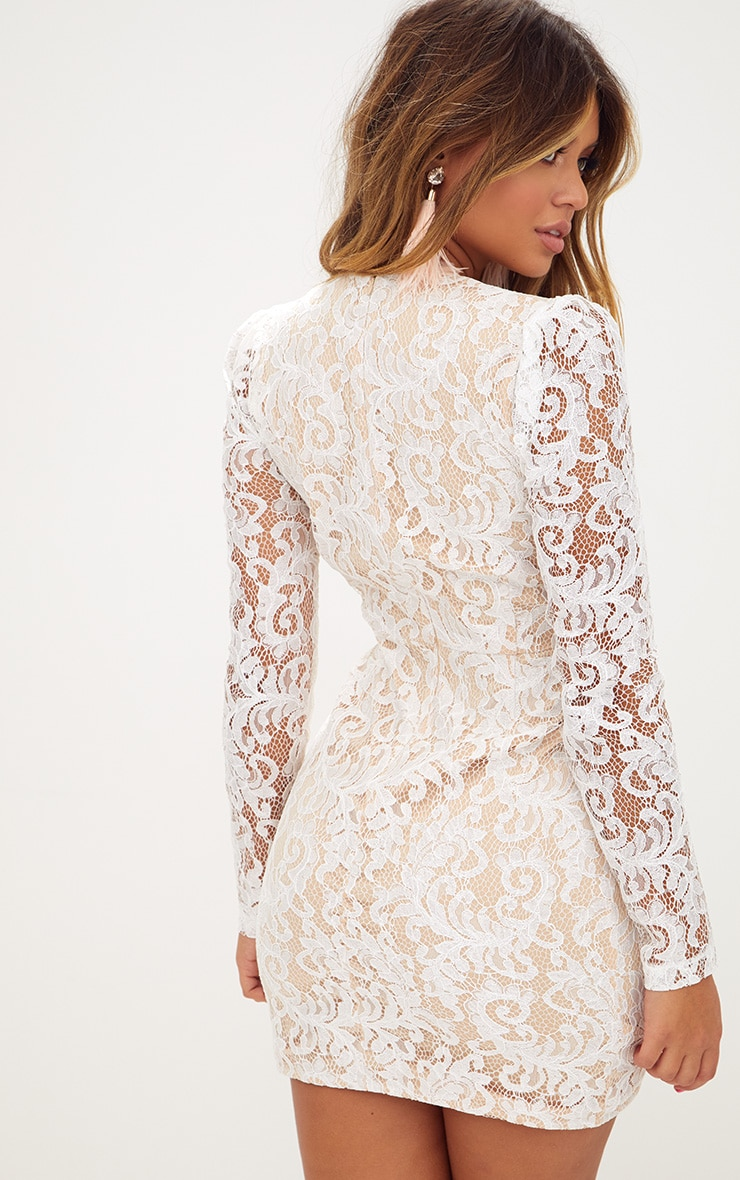 White Plunge Long Sleeved Lace Bodycon Dress  2