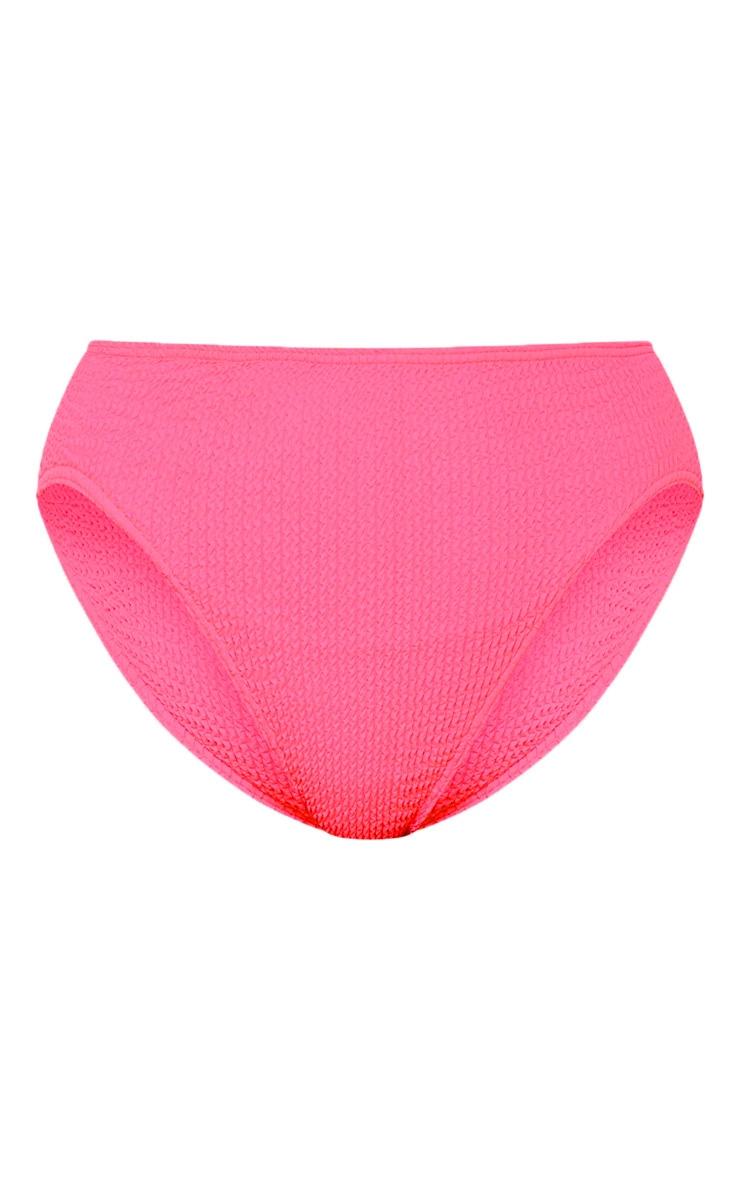 Neon Pink Crinkle Cheeky Bum Bikini Bottom 3