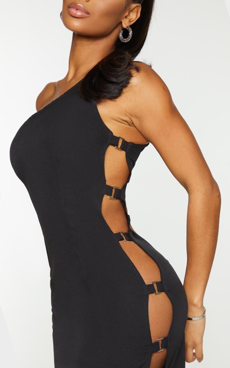 Shape Black Woven One Shoulder Buckle Detail Bodycon Dress 4