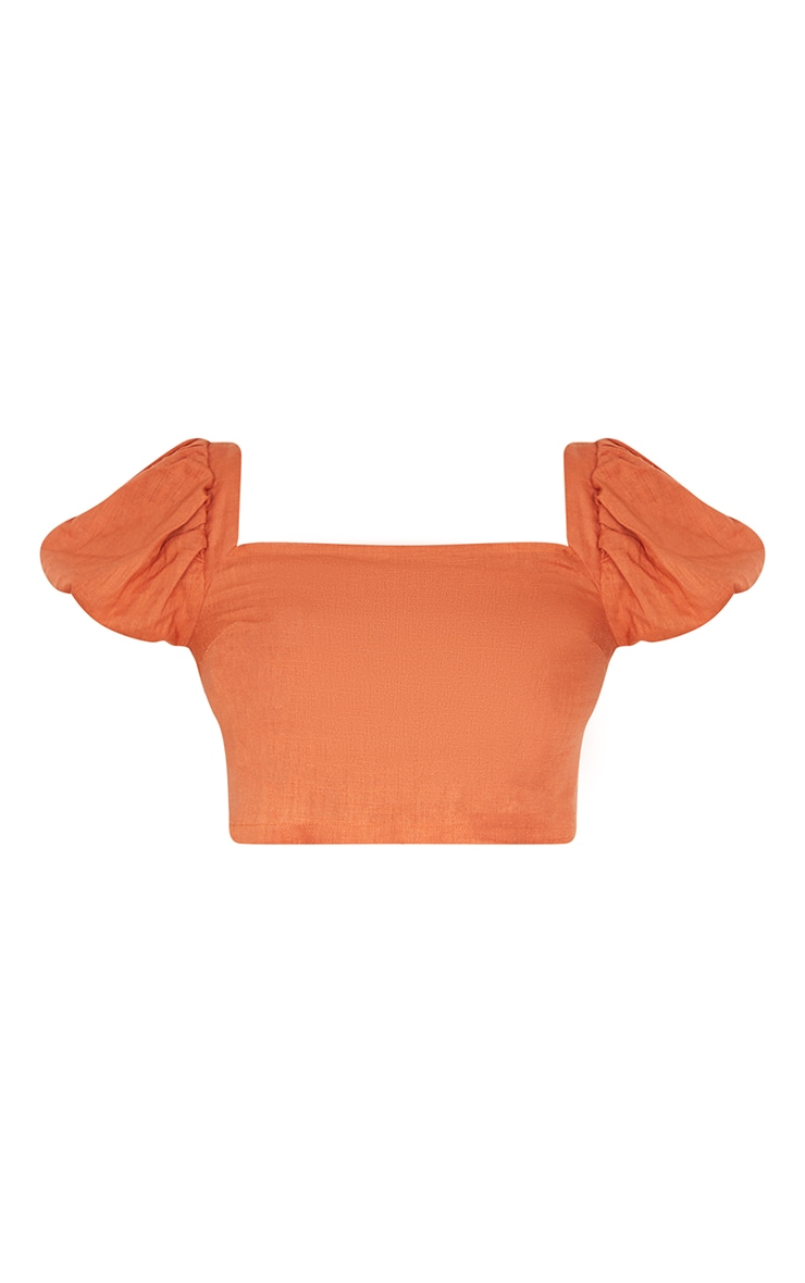 Tall Rust Puff Shoulder Cropped Blouse 5