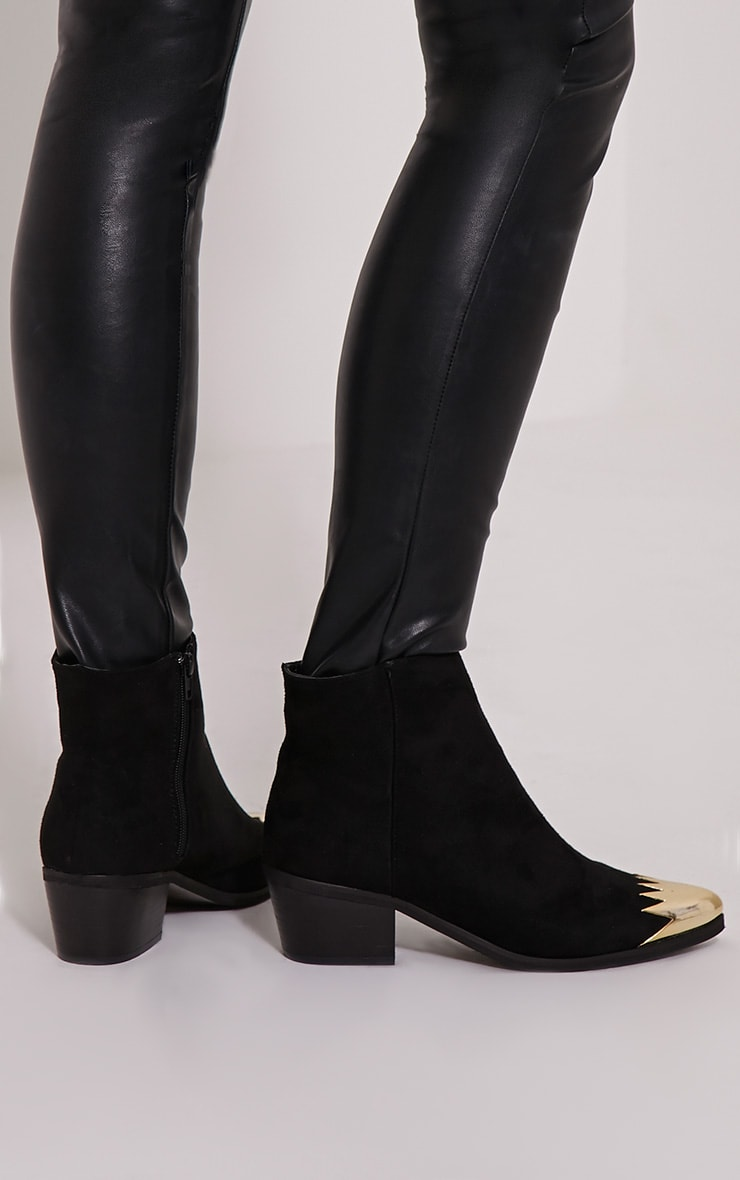 Karrie Black Metallic Detail Faux Suede Ankle Boots 2