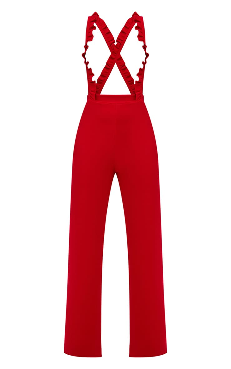 Red Frilly Brace Wide Leg Trousers 3