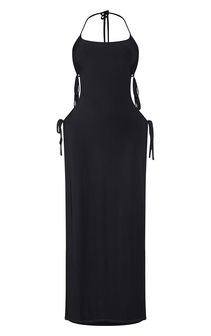 Shape Black Slinky Tie Side Extreme Split Maxi Dress 5