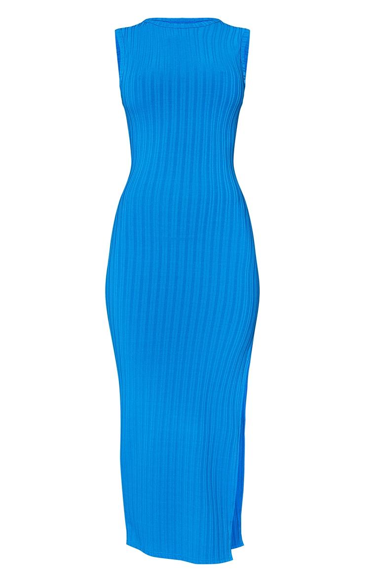 Recycled Blue Rib Split High Neck Midaxi Dress 5